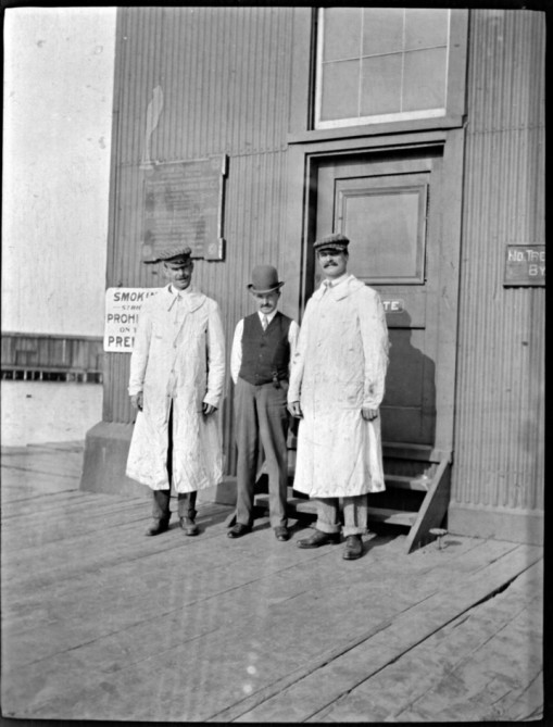 """Harry & H.M.R. at C.N.R. [Canadian Northern Railway] Elevator"""