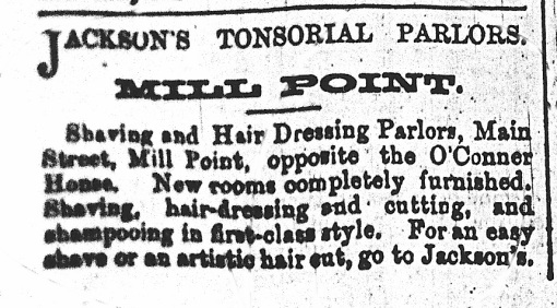 Advertisement for Jackson's Tonsorial Parlours