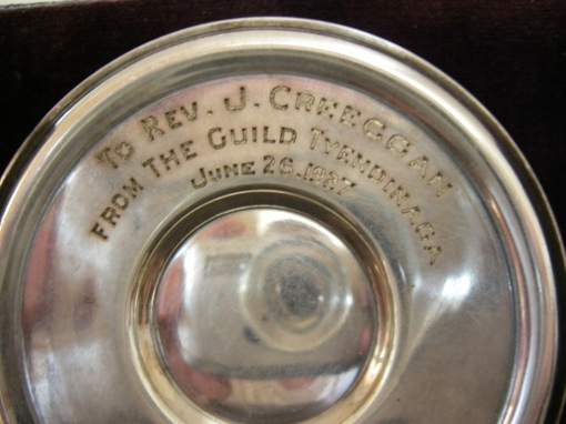 Inscription 'To Rev. J. Creeggan from the Guild Tyendinaga, June 26, 1927'