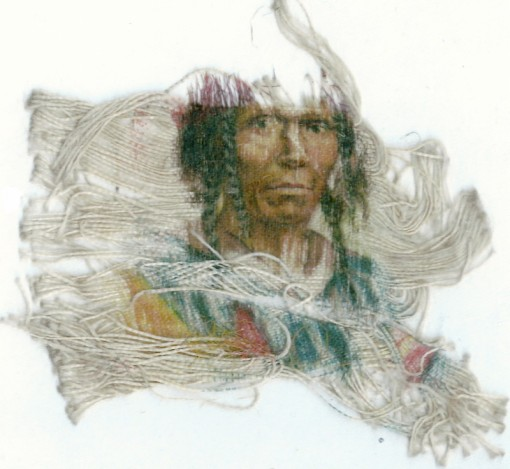 Portrait of a Native American man on silk
