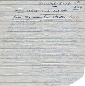Letter from Preston North, 1939