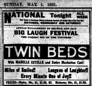 Twin Beds advert in the Washington Herald