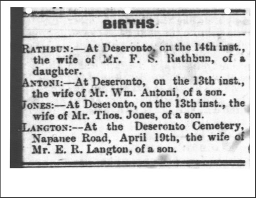 Newspaper birth announcement of William Langton