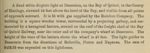 Deseronto light - 1886 report