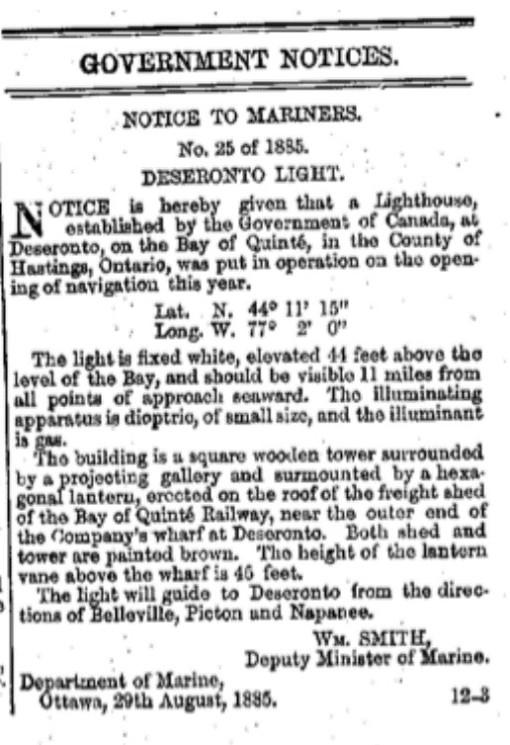 Gazette notice about Deseronto light