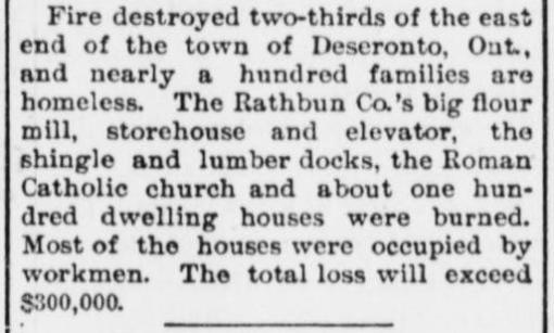 Daily Public Ledger report on Deseronto fire of 25 May 1896