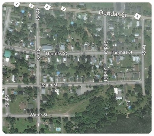 Numbered streets on map of Deseronto from Bing