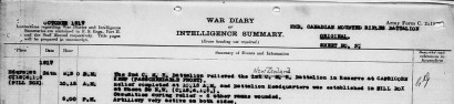 Benjamin Ridgwell's unit's war diary for 24 October 1917