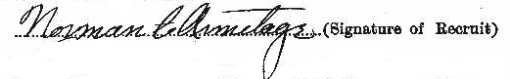 Norman Armitage's signature