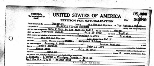 Clarence Victor Robeson application for naturalization