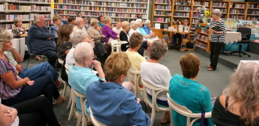Frances Itani talking to a full house at Deseronto Public Library