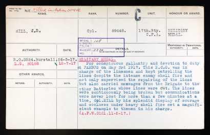 Joseph Bernard Hill Military Medal citation