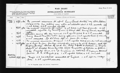 War diary entry for John Henry Maracle's death