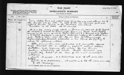 44th Battalion war diary entry for May 10th 1917, courtesy Library and Archives Canada