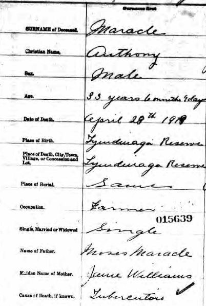 Anthony Maracle death register entry