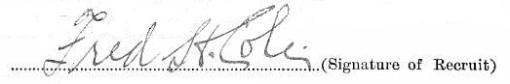 Fred Huntley Cole signature
