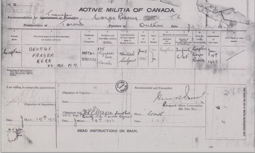 George Fraser Kerr militia appointment