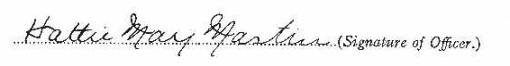 Hattie May Mastin signature