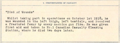 Peter William Maracle circumstances of casualty