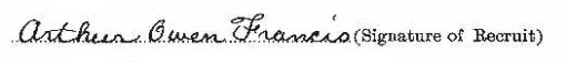 Arthur Owen Francis signature