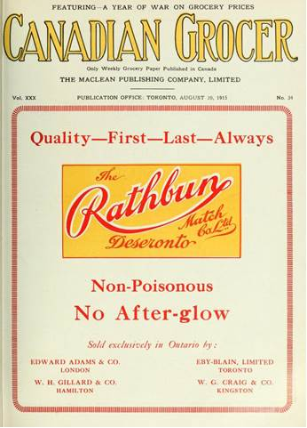 Canadian Grocer - Rathbun Match Company advertisement