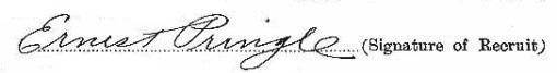 Ernest Pringle signature