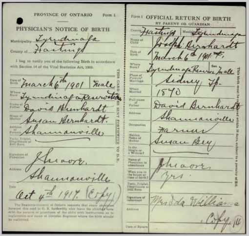 Joseph Edward Barnhardt - copy of birth registration