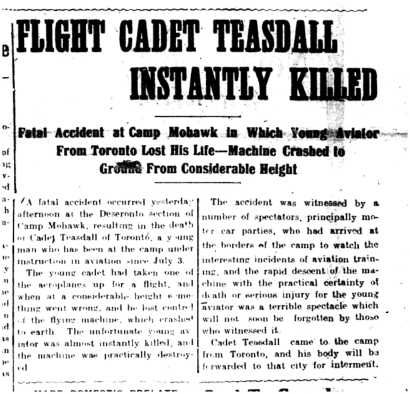 Intelligencer 1917 Jul 13 Cadet Teasdall's death