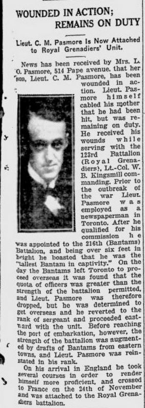 Clarence Pasmore wounded - Toronto World report