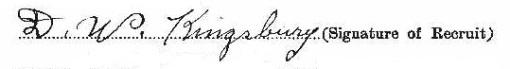 Daniel Webster Kingsbury signature