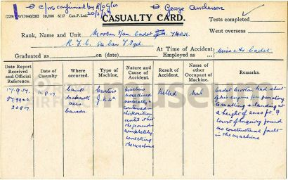 George Anderson Morton RFC casualty card