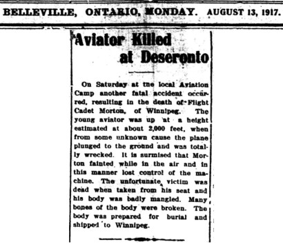 Intelligencer report of G. A. Morton's death
