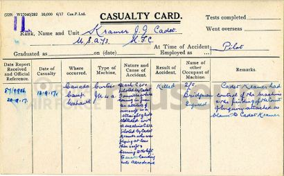 J. J. Kramer RFC Casualty Card