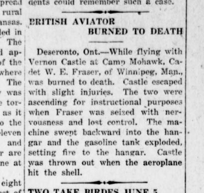 Report of Allan Walton Fraser's death at Camp Mohawk in the Hartford Herald