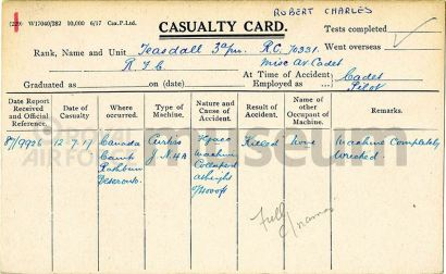 Robert Charles Teasdall's RFC casualty card