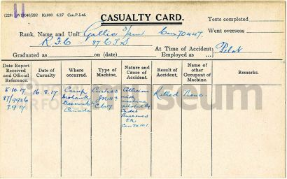William Sidney Gallie RFC Casualty Card
