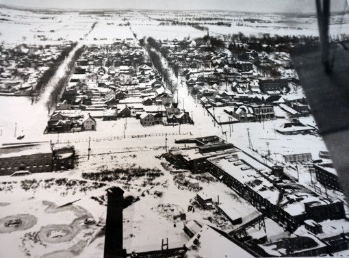 Aerial photograph of Deseronto in winter, c.1920