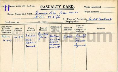 Harry Albert Downer RFC casualty card