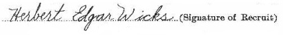 Herbert Edgar Wicks signature