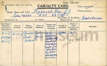 RFC casualty card for Lee James Roebuck