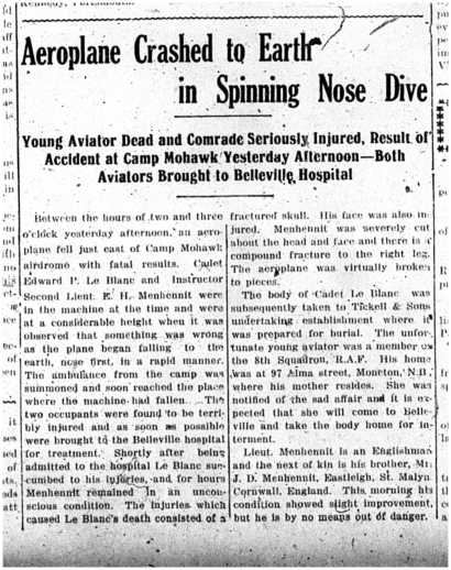 Intelligencer report of 1918 Apr 30 on Le Blanc death