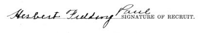 Herbert Fielding Paul signature