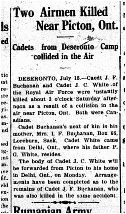 Intelligencer newspaper report of Buchanan and White's crash near Picton