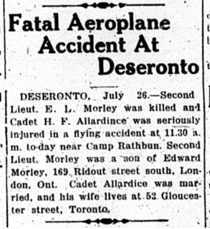 Belleville Intelligencer report of Jul 27 1918 on Morley and Allardice's accident