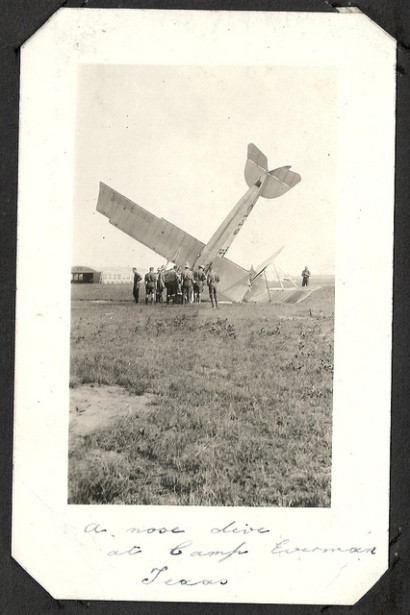 Curtiss JN-4 aircraft C149 after a nose dive