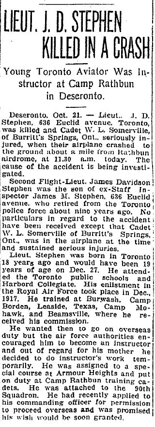 James Davidson Stephen Toronto World report 22 Oct 1918