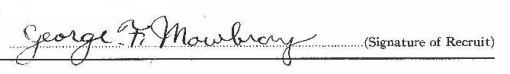 George Frederick Mowbray signature