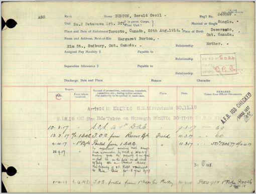 Extract from service record for Gerald Burton