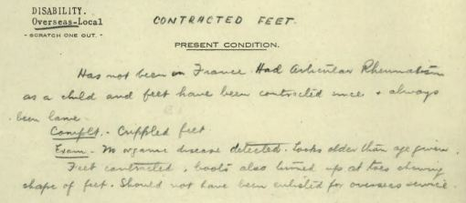 William Robinson Allen contracted feet