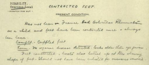 William Robinson Allen contracted feet